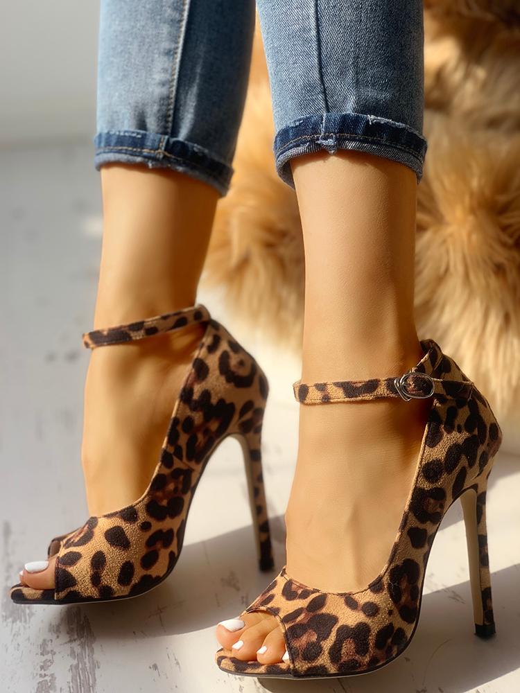 boutiquefeel / Leopard Print Peep Toe Ankle Strap Sandal