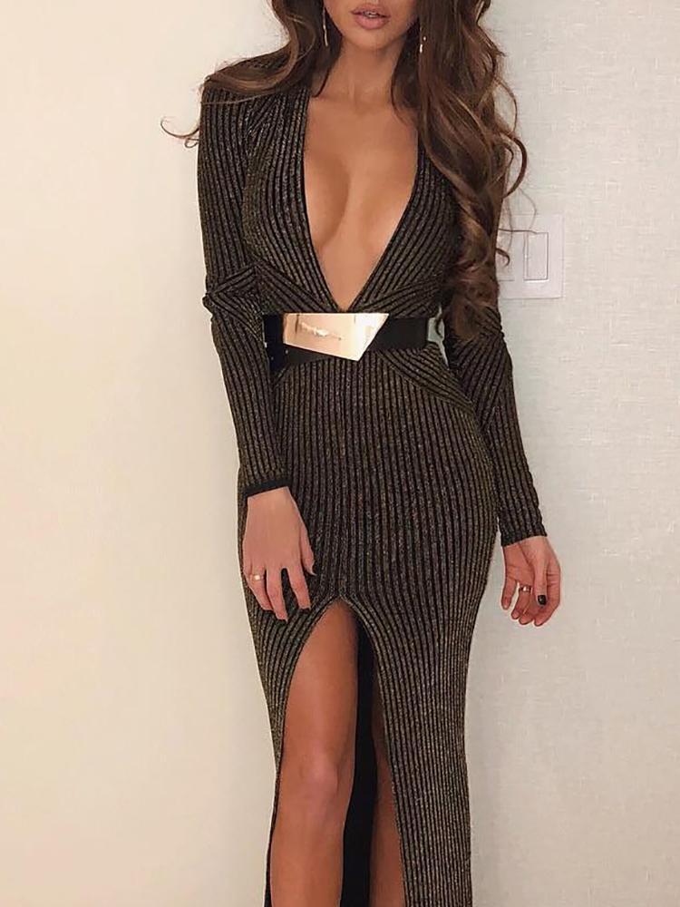 boutiquefeel / Stripes Plunge Thigh Slit Evening Dress