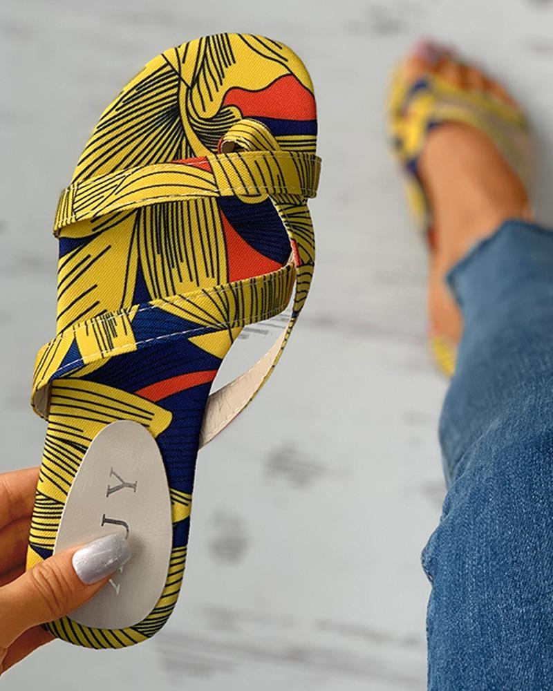 Print Open Toe Casual Flat Sandals thumbnail
