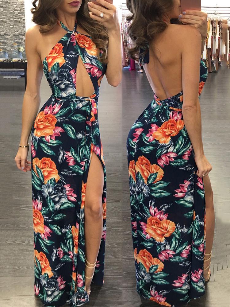 Ivrose coupon: Sexy Halter Cut Out Open Back Split Maxi Dress