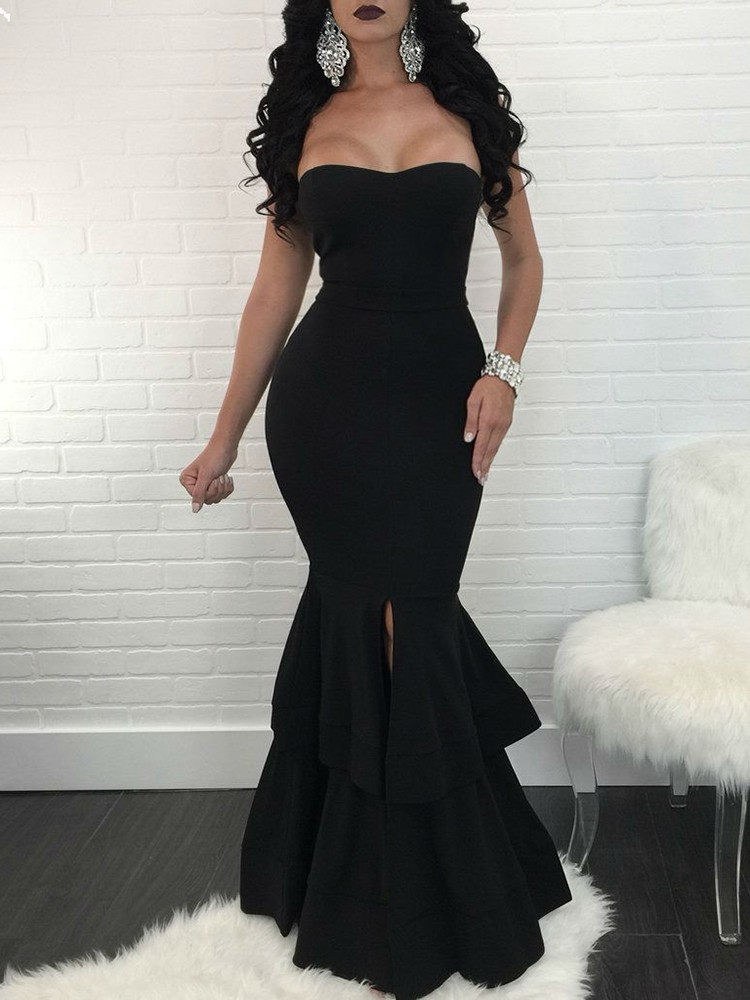 Strapless Slit Mermaid Maxi Bodycon Dress