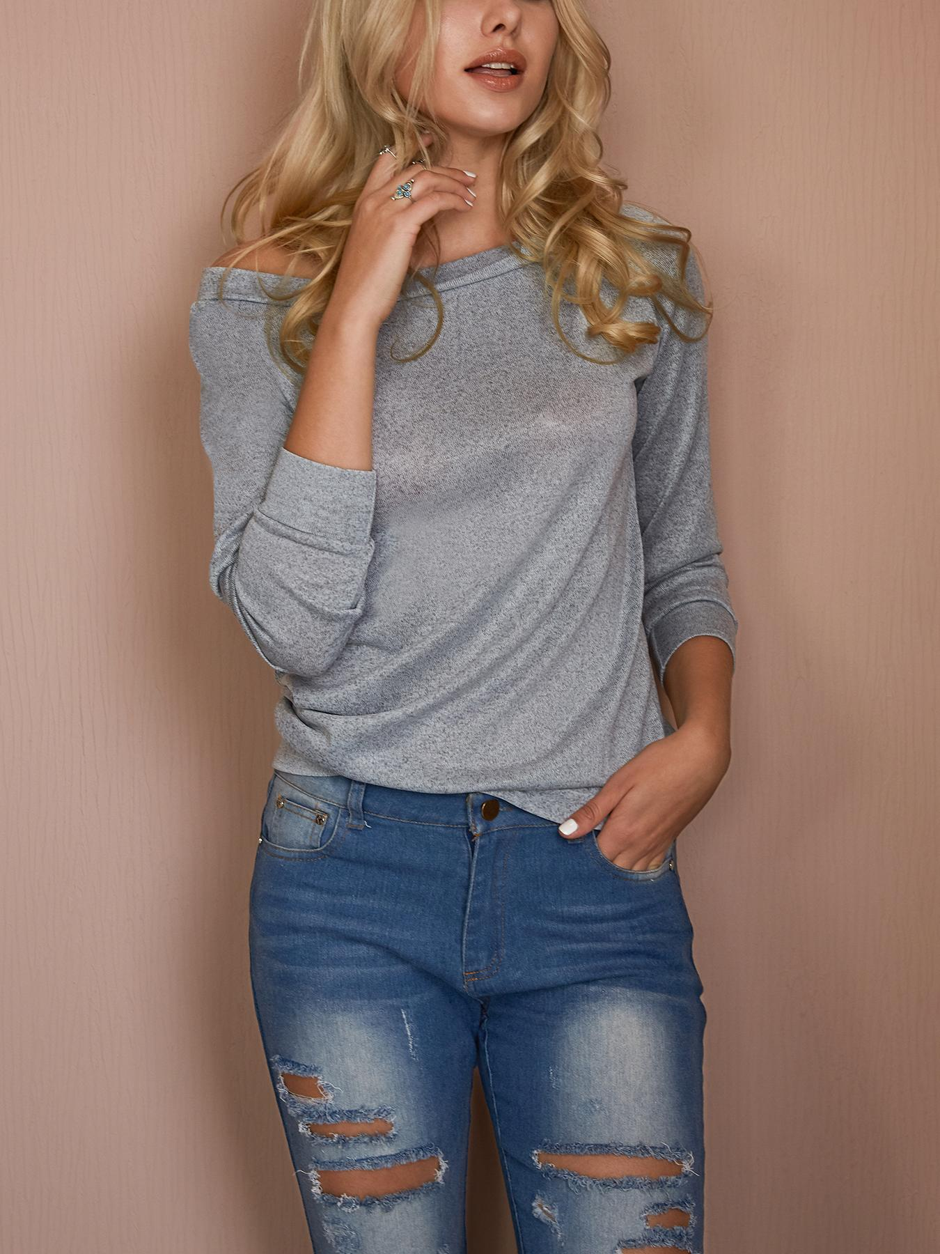 Ivrose coupon: Fashion Solid Off Shoulder Casual Blouse