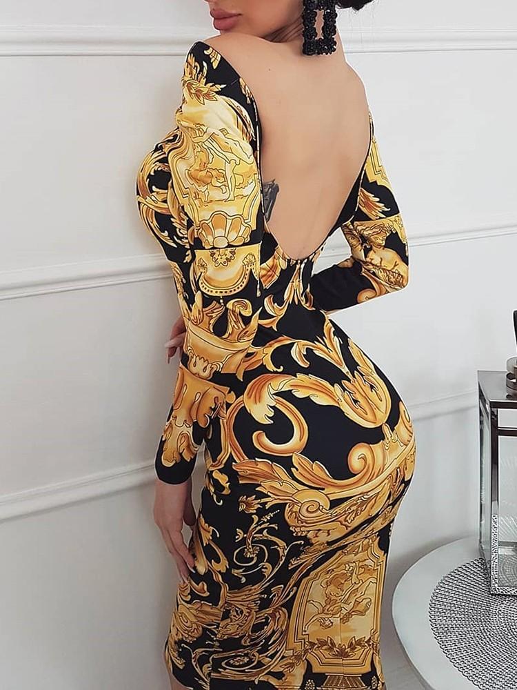 Print Off Shoulder Open Back Skinny Dress