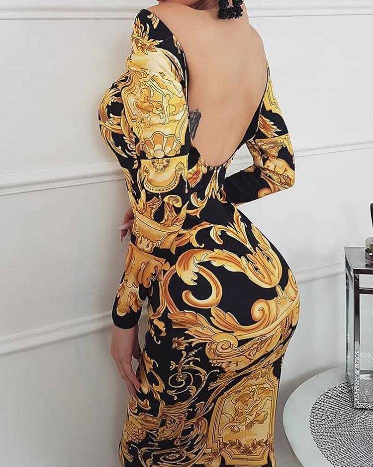 Print Off Shoulder Open Back Bodycon Dress