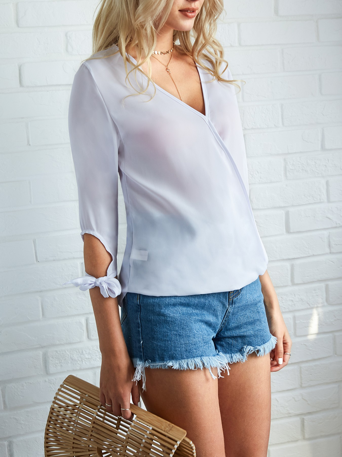 boutiquefeel / Trendy Crisscross Tied Sleeve Casual Blouse