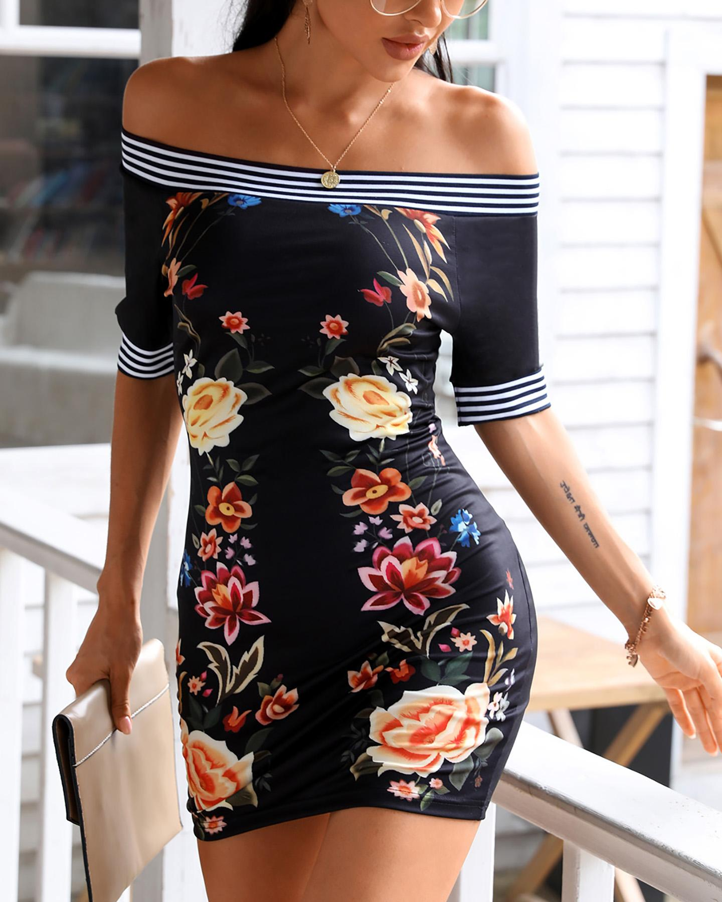Off Shoulder Floral Print Striped Dress thumbnail