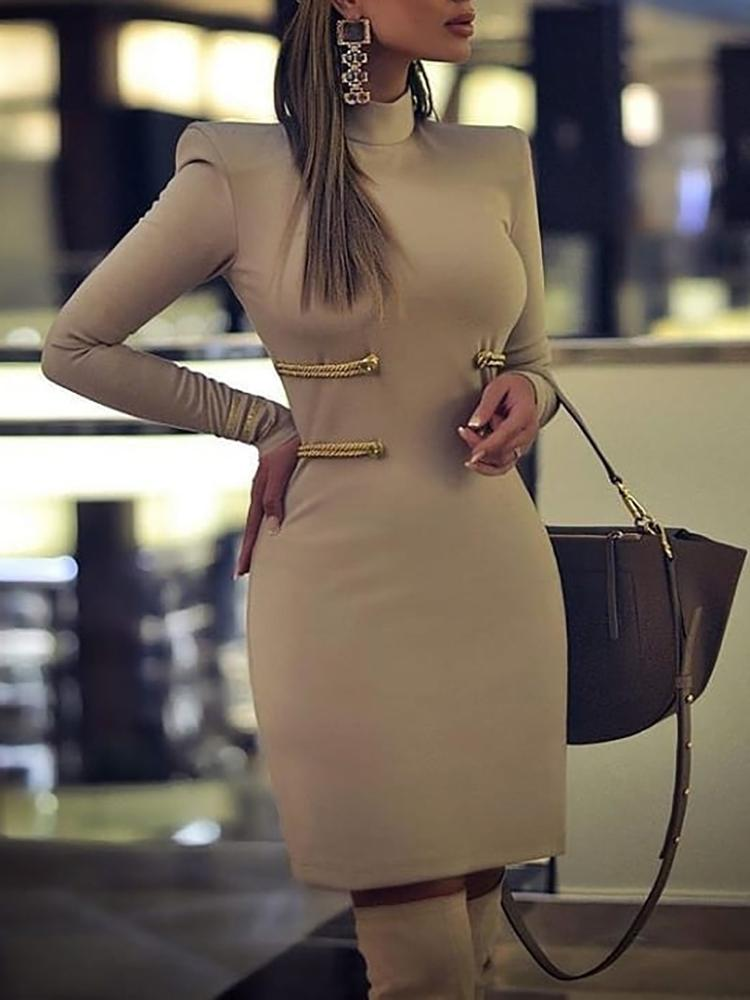 Long Sleeve Padded Shoulder Bodycon Dress