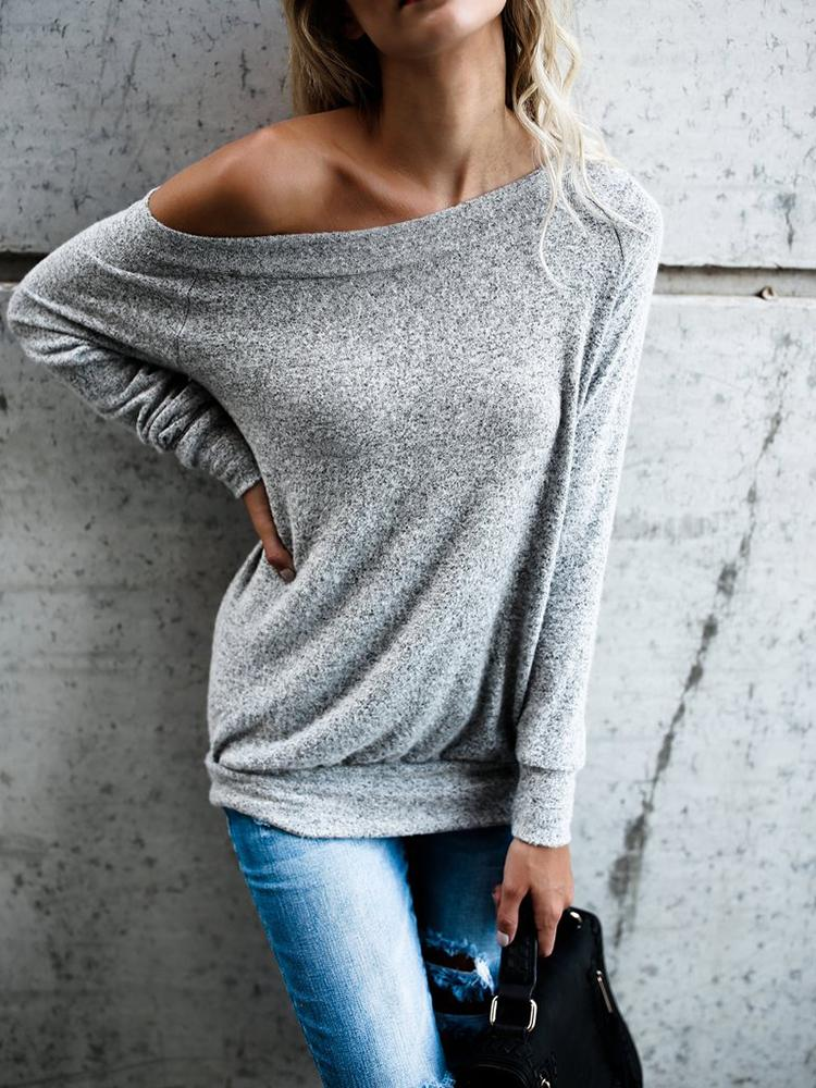 Joyshoetique coupon: Fashion Solid Off Shoulder Casual Blouse - Gray