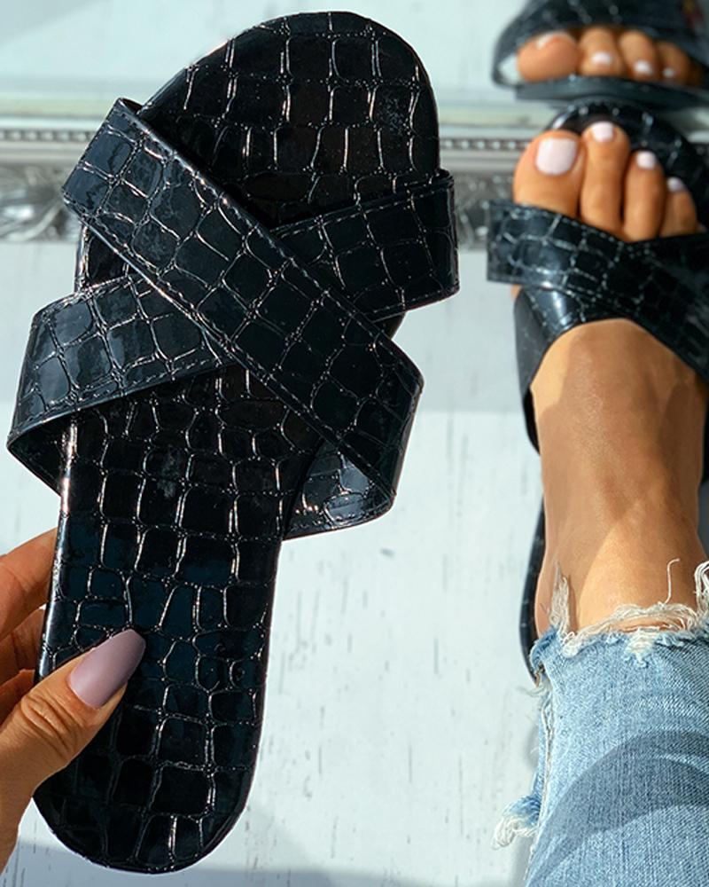 Croc Embossed Bandage Peep Toe Flat Sandals