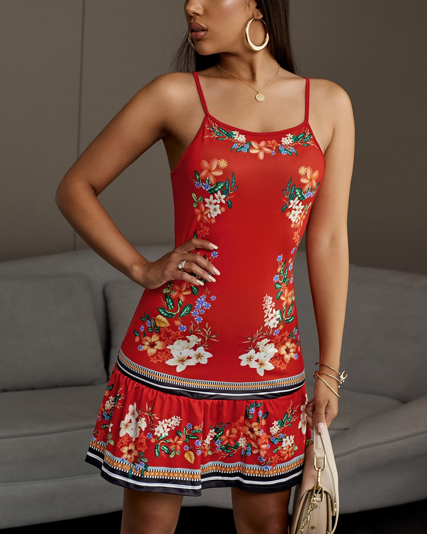 Spaghetti Strap Backless Floral Print Dress