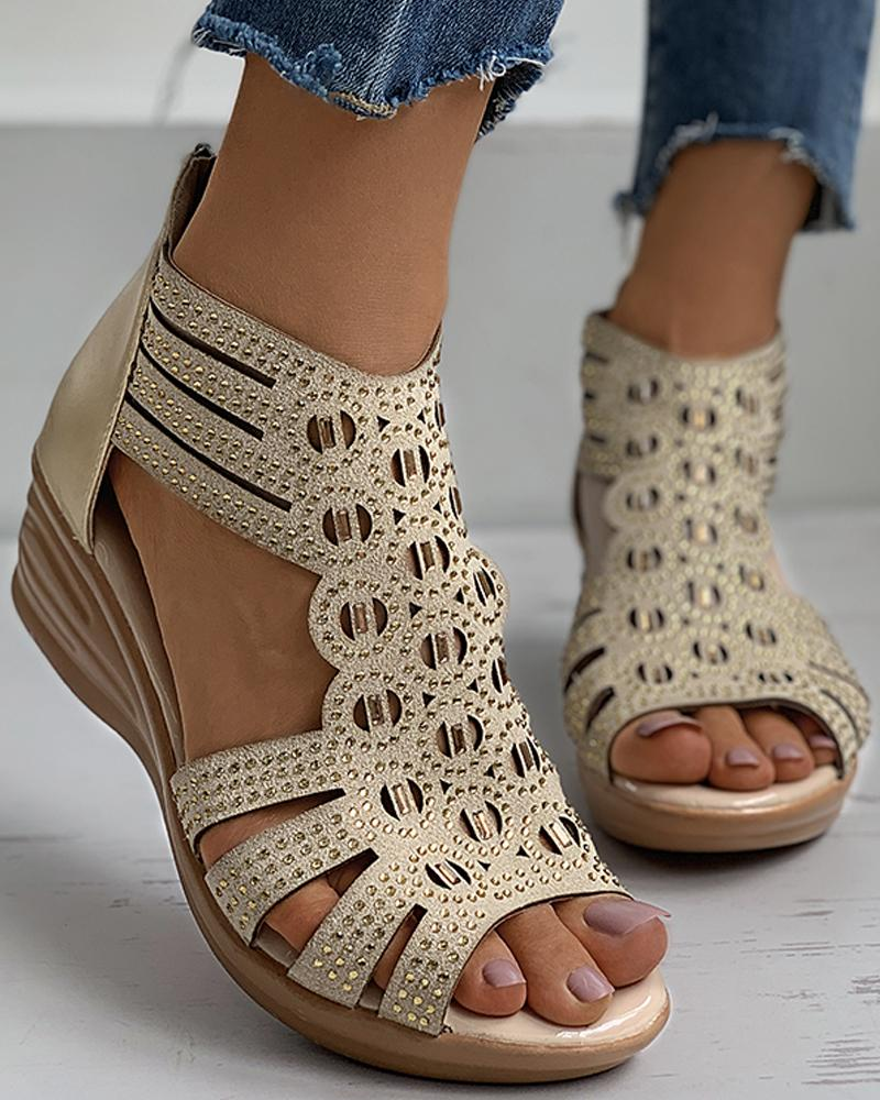 Studded Cutout Peep Toe Wedge Sandals