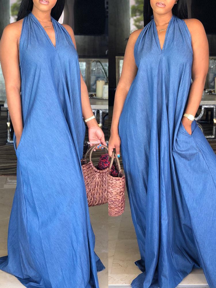 boutiquefeel / Oversized Halter Pocket Loose Denim Maxi Dress