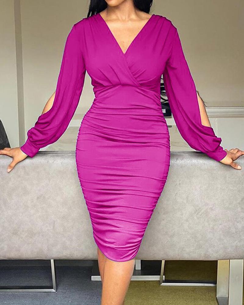 Plus Size Plain Cutout Ruched Wrap Bodycon Dress, Purple