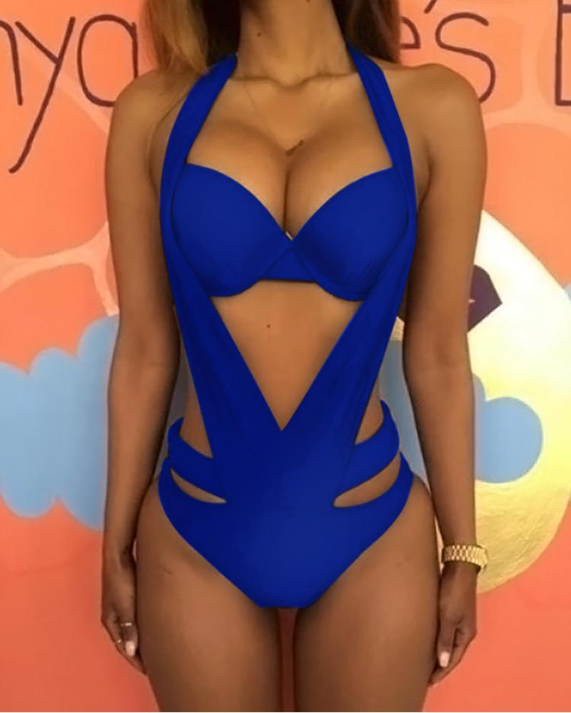 91c73fbd316aa Halter Cut Out Backless One Piece Swimsuit Online. Discover hottest trend  fashion at chicme.com