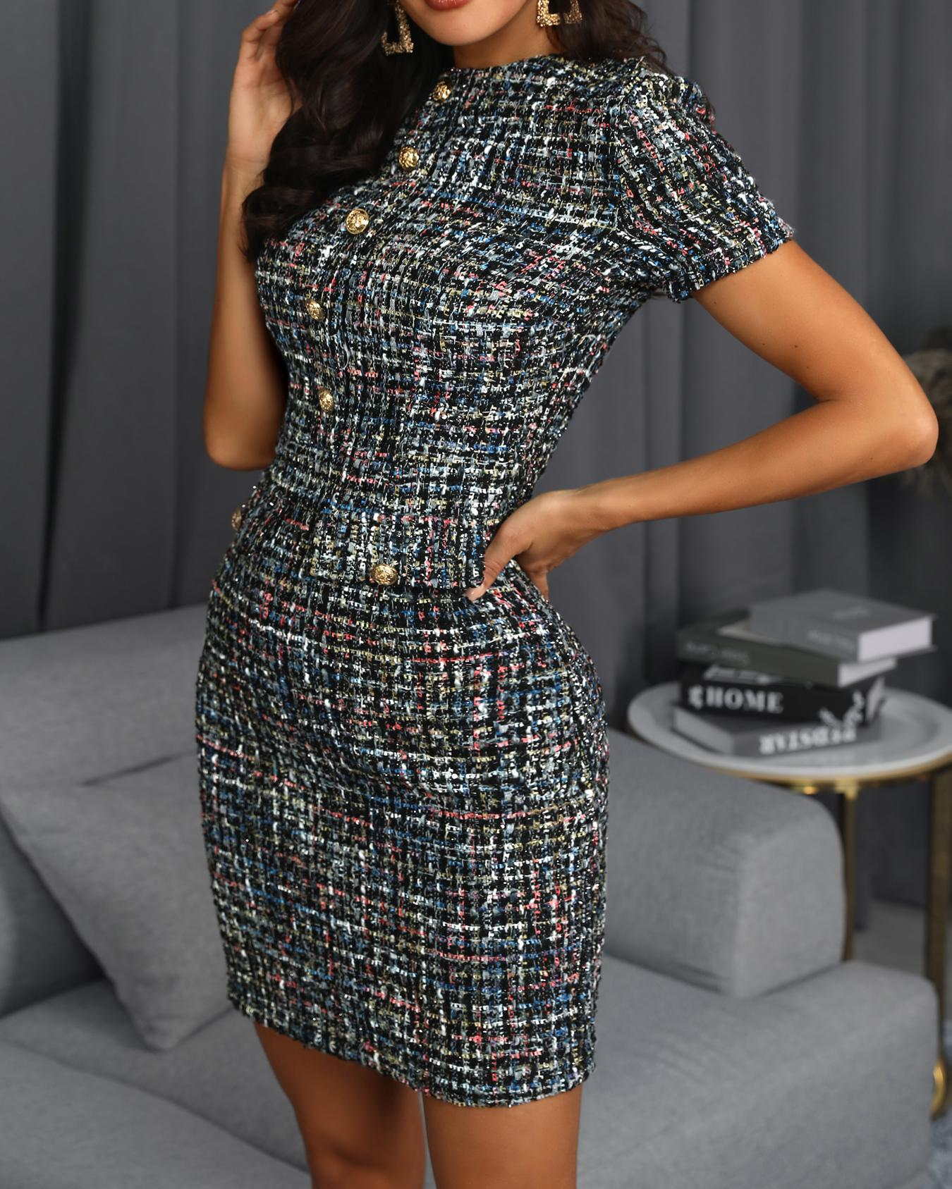 Short Sleeve Buttoned Tweed Shift Dress