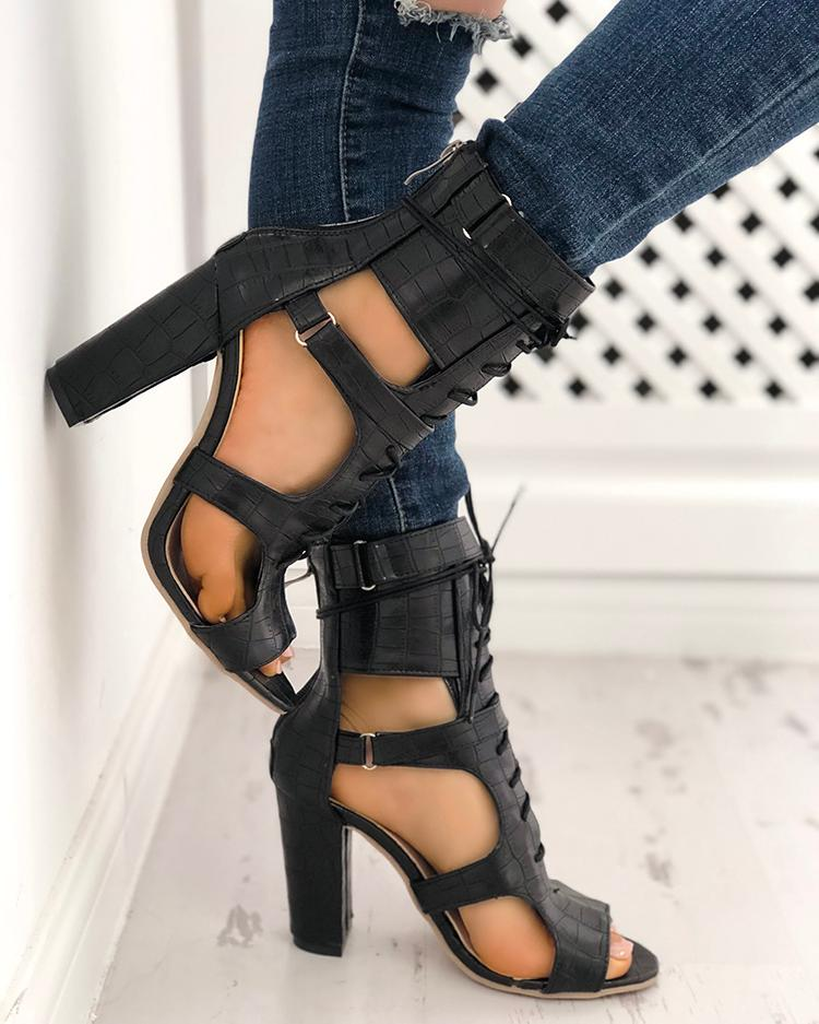 22e420d0ff35 Lace-up Cutout Chunky Heel Sandals
