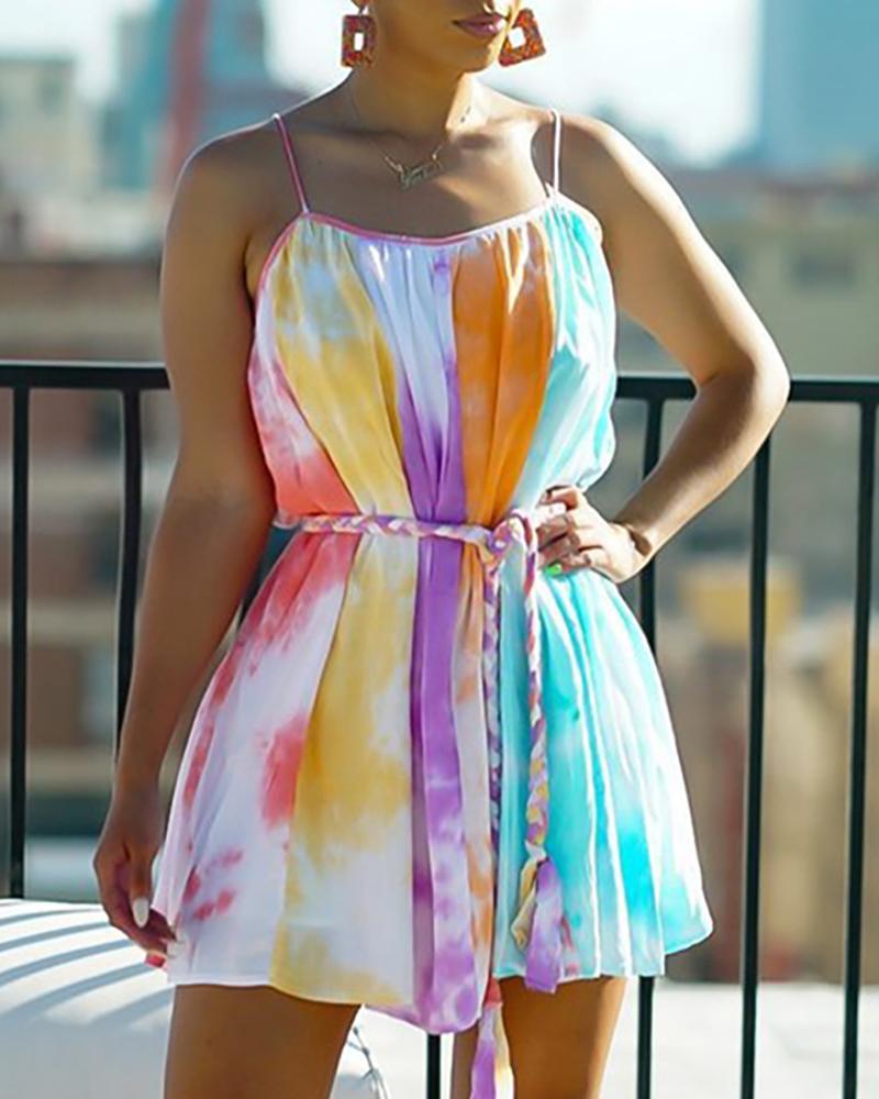 Tie Dye Print Colorblock Casual Dress thumbnail