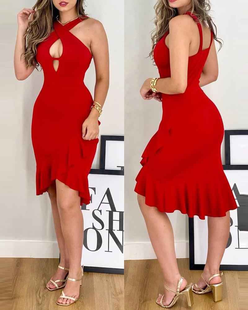 Plain Cutout Cross Front Ruffle Hem Midi Dress, Red