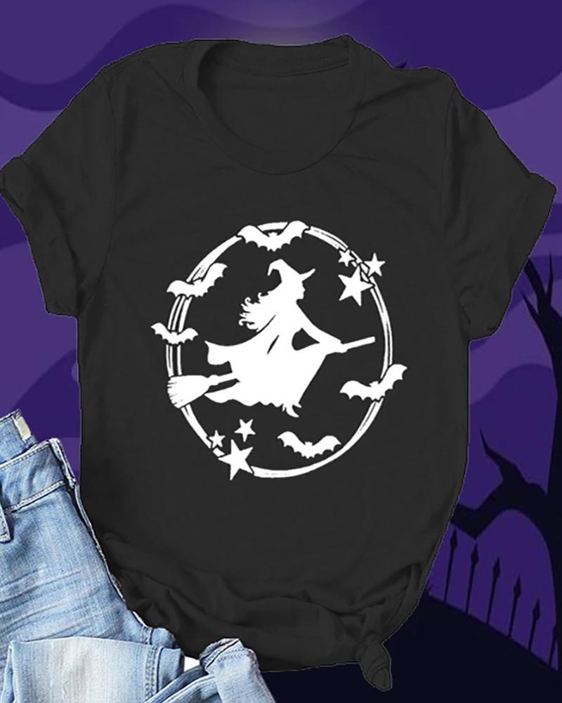 Halloween Witch Print Short Sleeve T-Shirt thumbnail