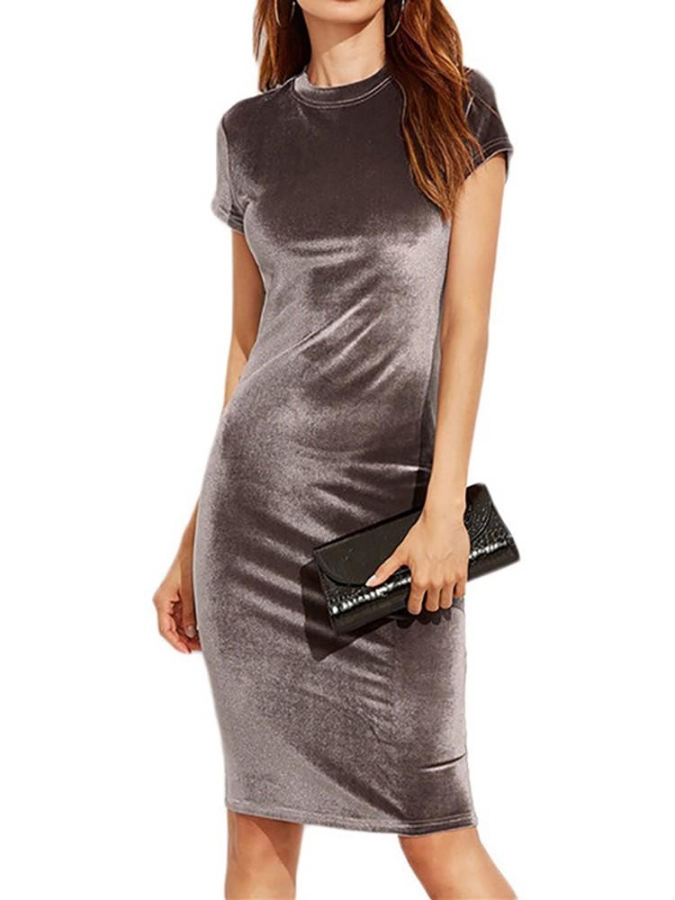 Elegant Sexy Pleuche Short Sleeve Slinky Bodycon Dress