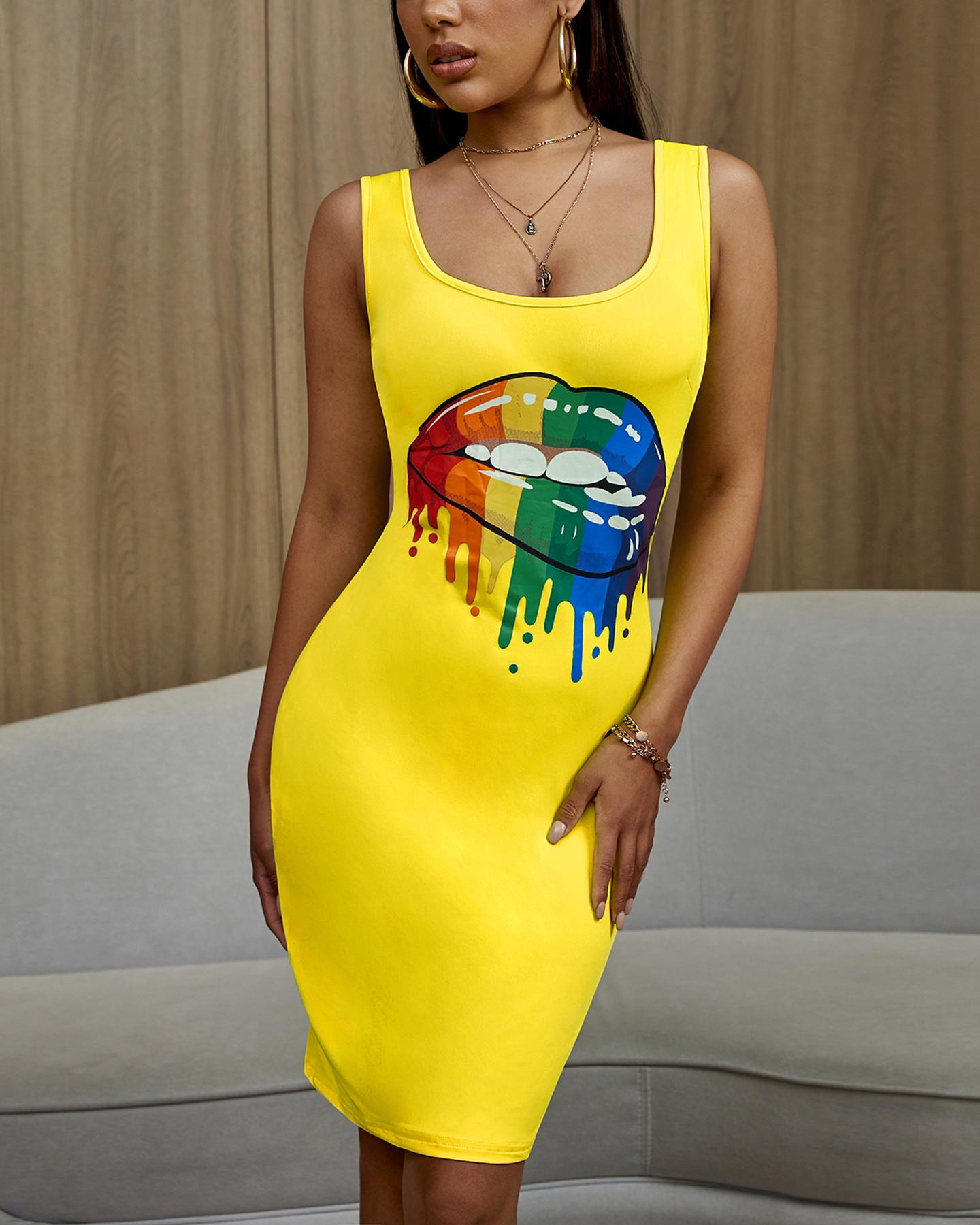 Lip Pattern Thin Strap Bodycon Dress thumbnail
