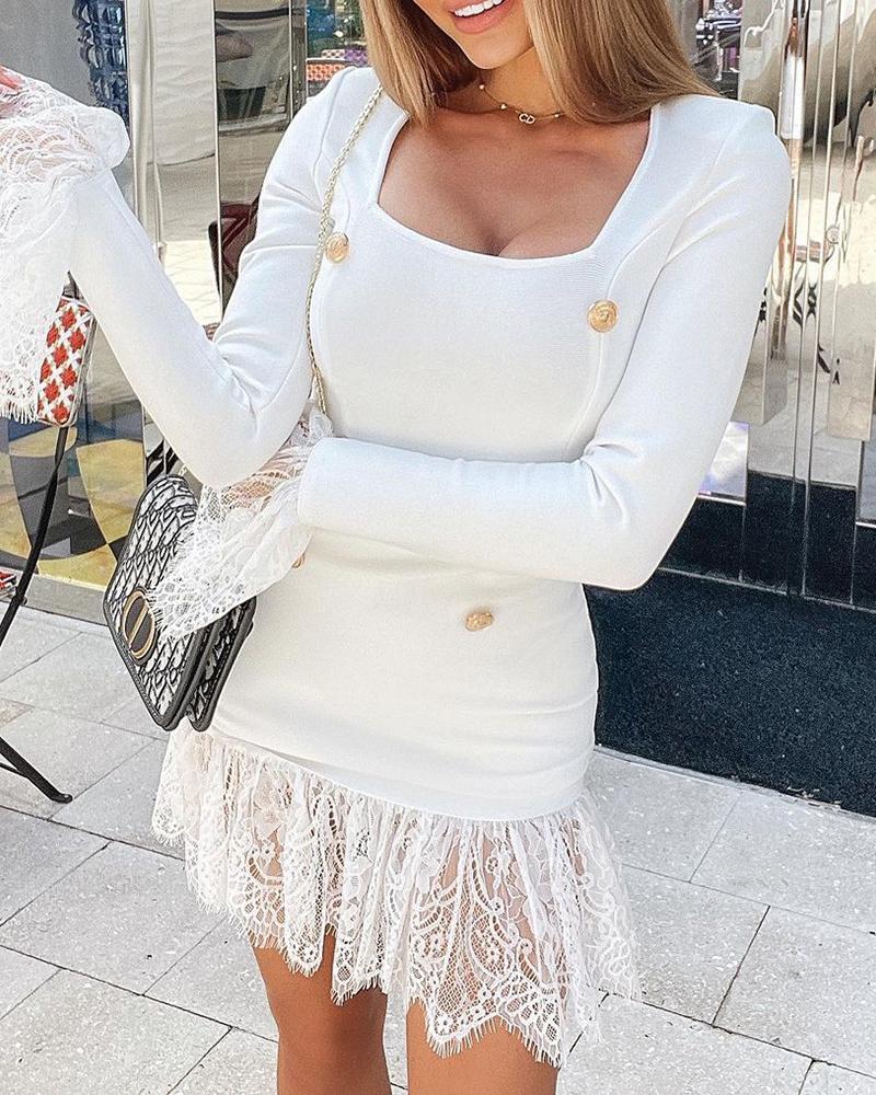 Eyelash Lace Trim Long Sleeve Bodycon Dress