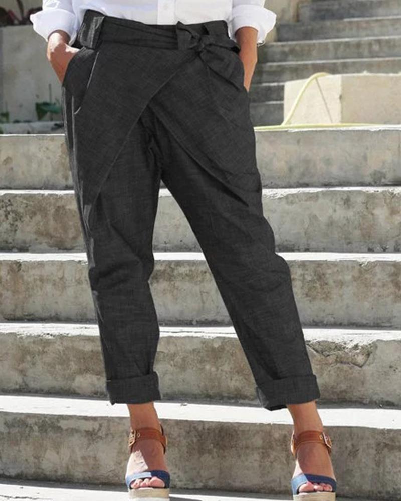 Solid Bow Cigarette Long Pants thumbnail