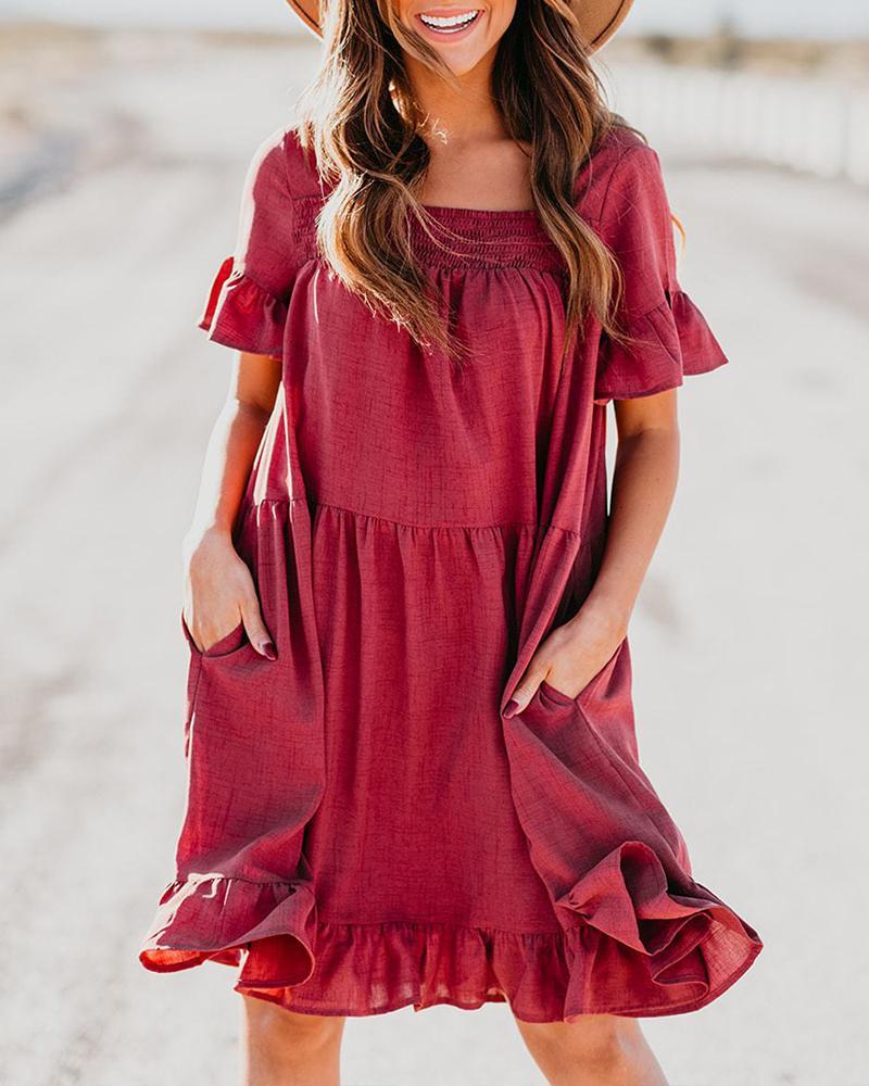 Square Neck Shirring Design Ruffles Dress thumbnail