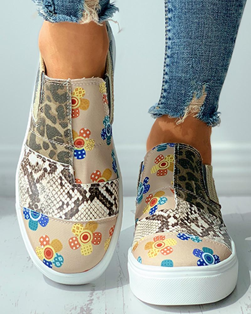 Snakeskin Floral Cheetah Print Casual Canvas Shoes, Multicolor
