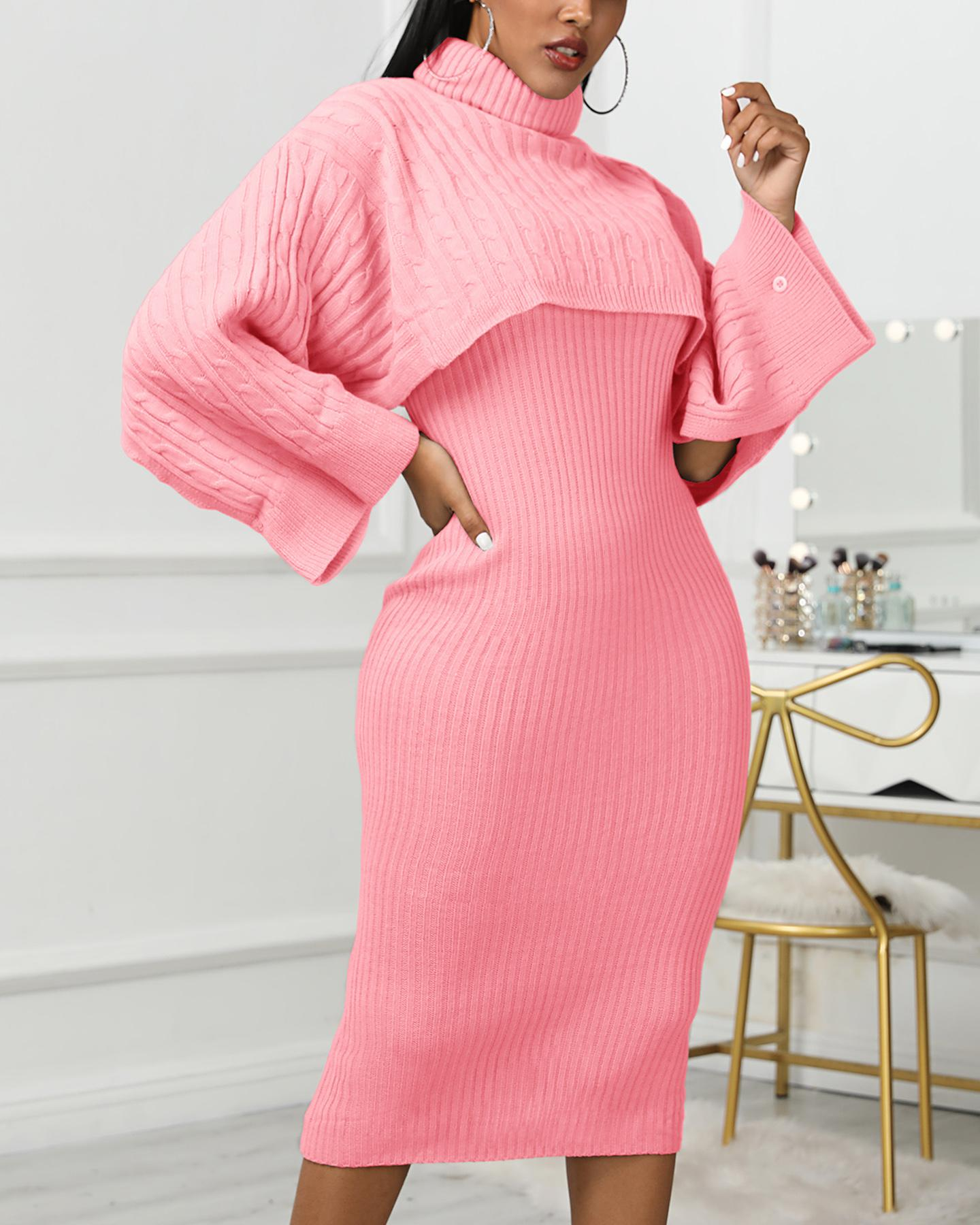 Solid High Neck Ribbed Sweater & Thin Strap Dress Sets thumbnail
