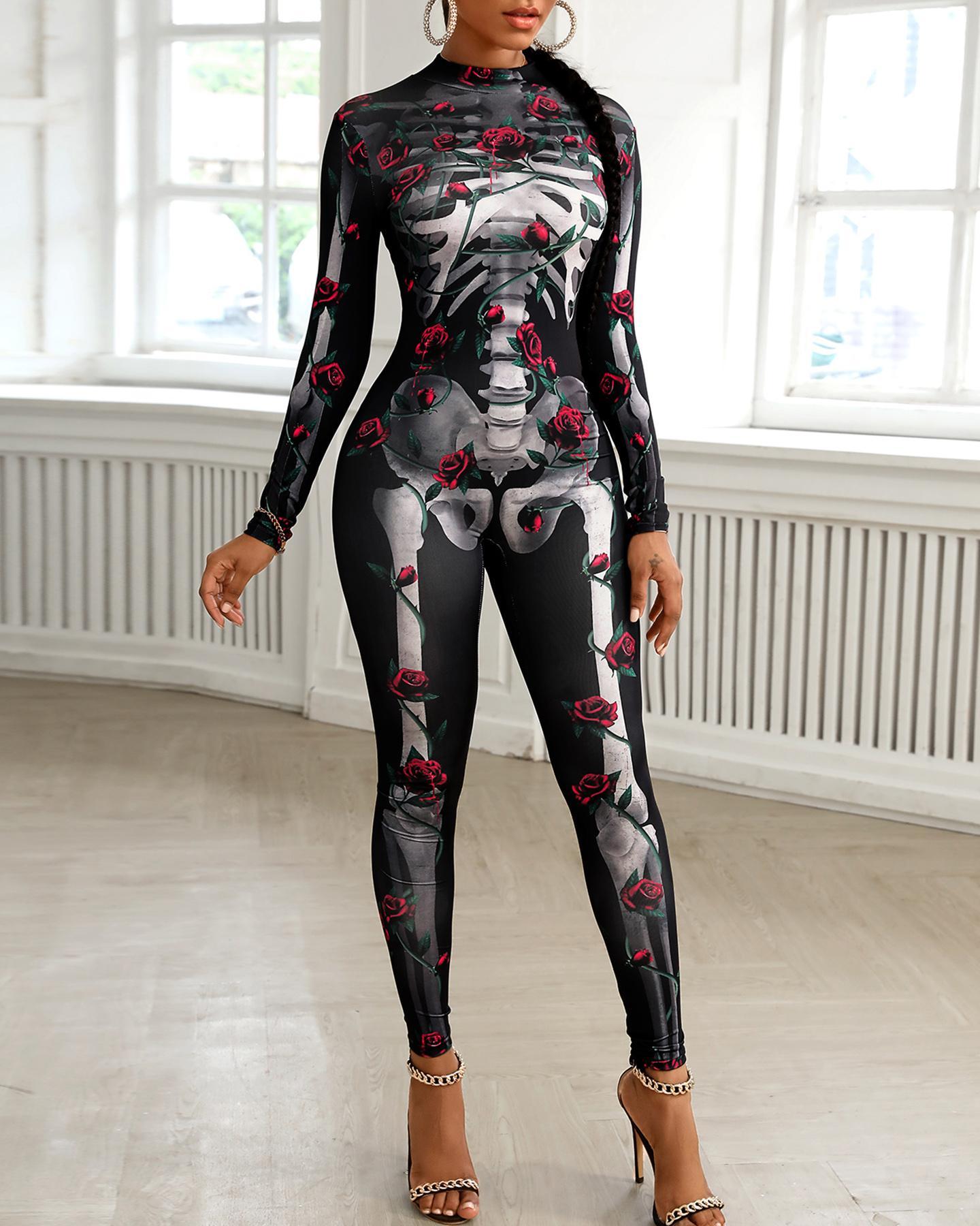 Skull Skeleton Print Zip Back Halloween Costume Jumpsuit thumbnail