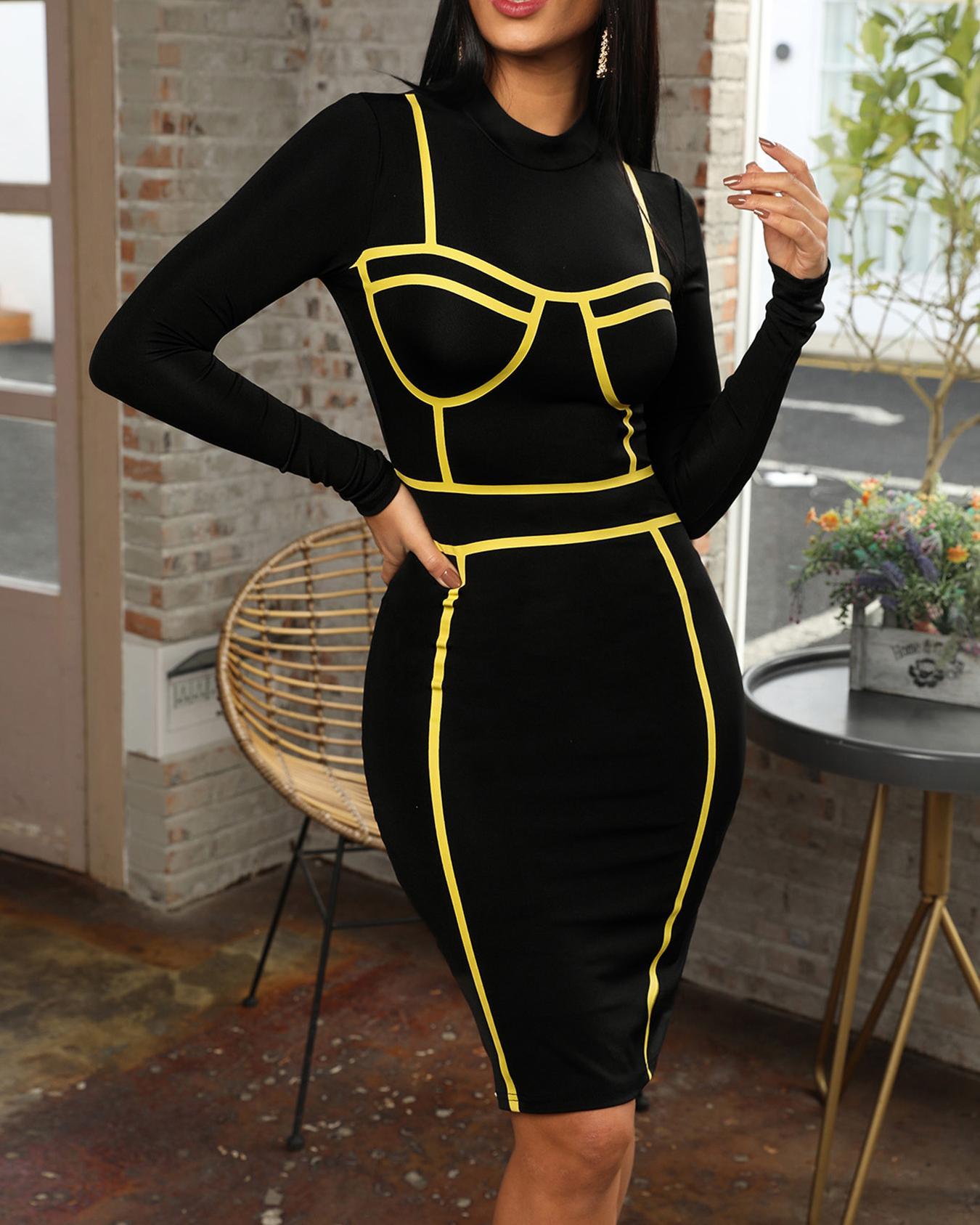 Contrast Binding Skinny Party Dress