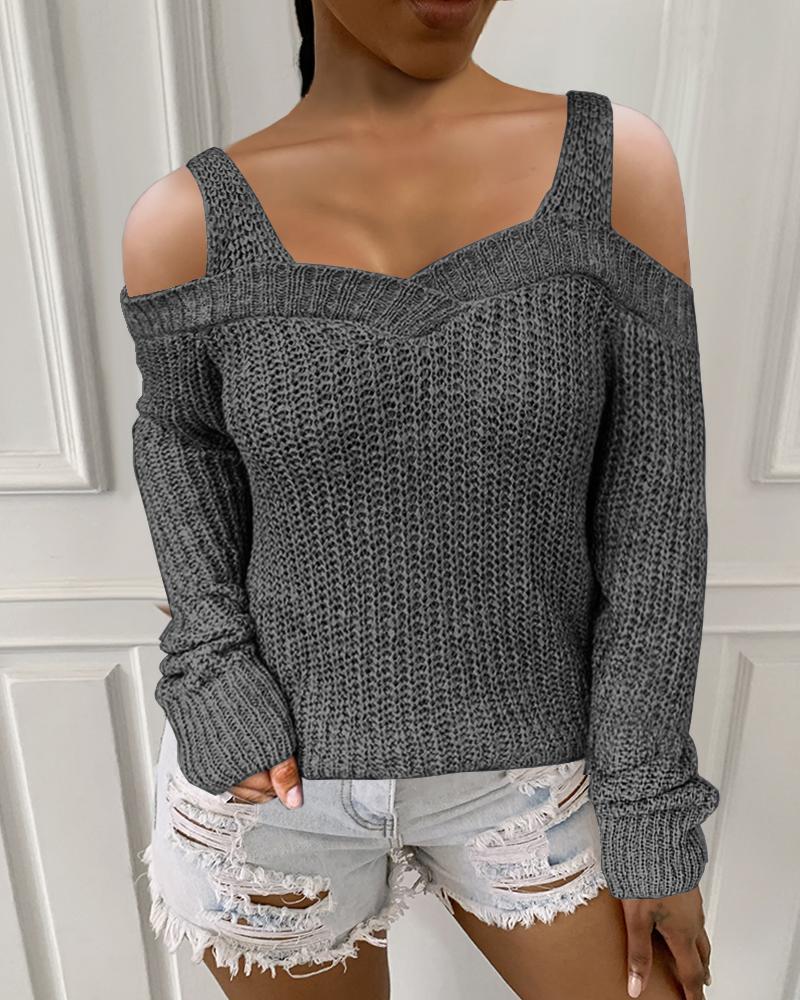 Plain Long Sleeve Cold Shoulder Sweater, Dark grey