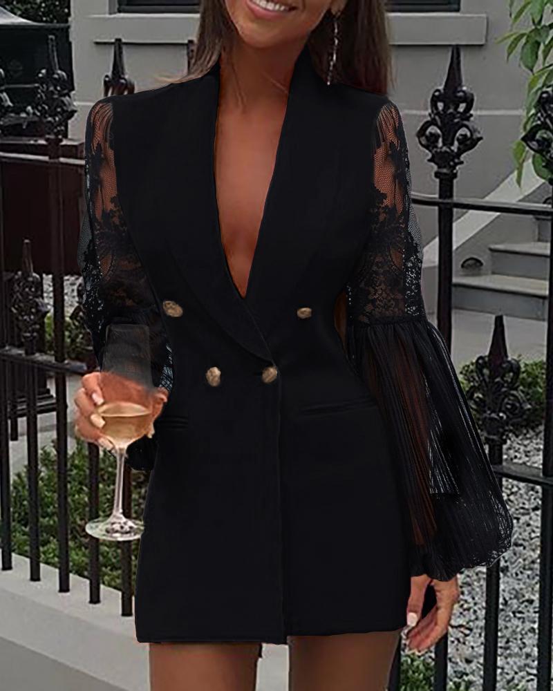 Crochet Lace Sheer Mesh Double Breasted Blazer Dress thumbnail