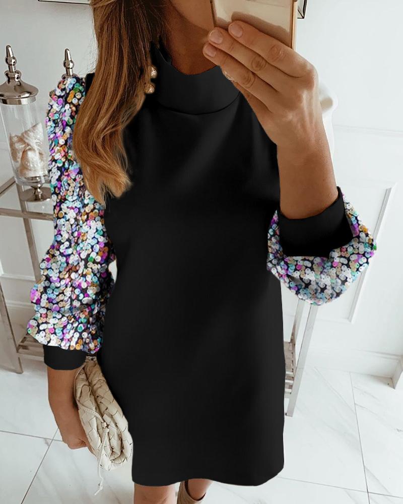 Colorblock Insert Mock Neck Lantern Sleeve Sequins Dress