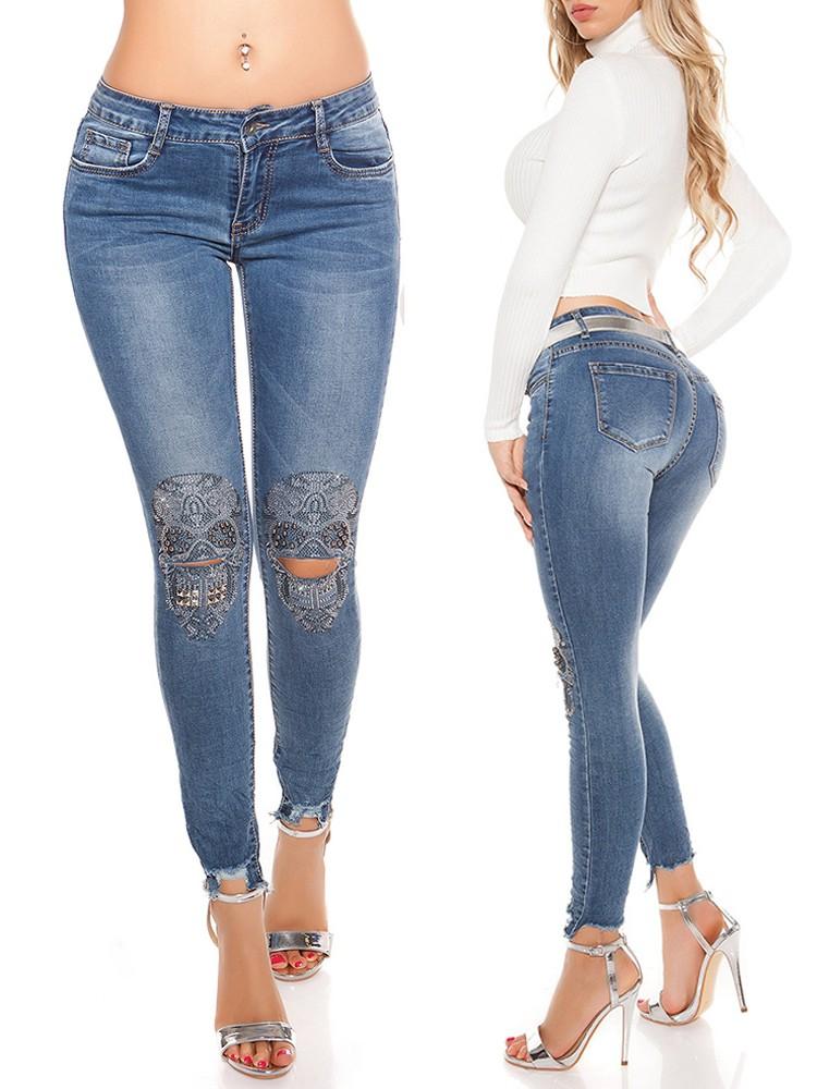 Fashion Holey Skull Print Pocket Skinny Jeans