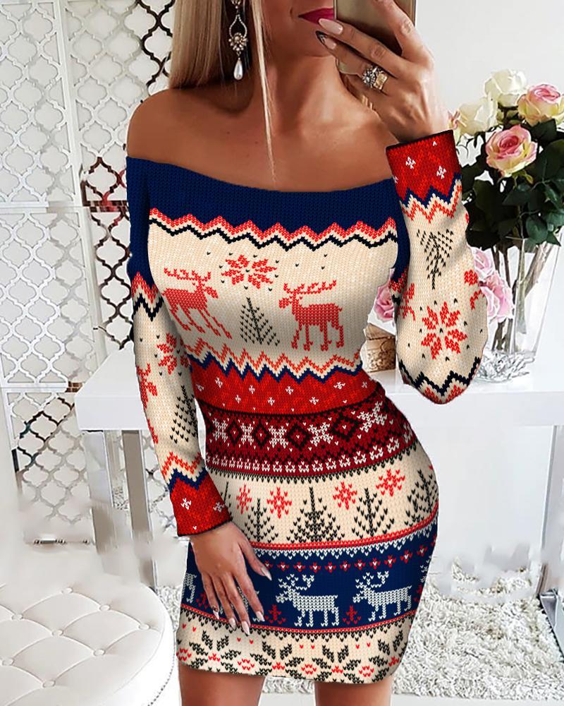 Christmas Print Off Shoulder Bodycon Dress