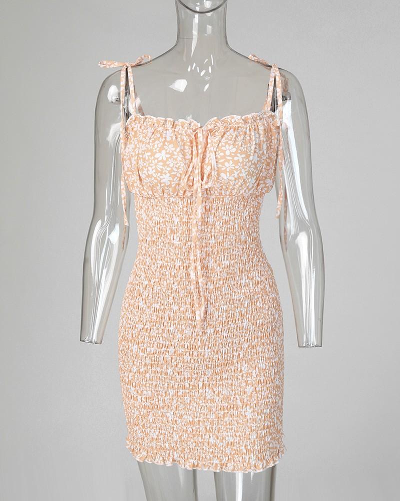 Spaghettiträger-Shirring-Kleid mit Blumendruck
