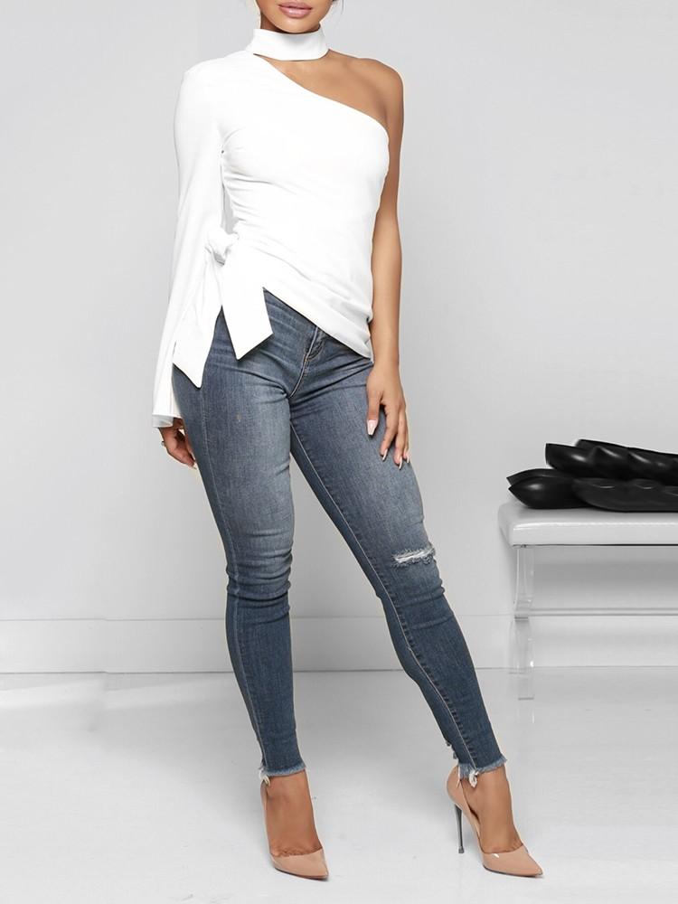 boutiquefeel / Halter One Shoulder Side Belted Casual Top