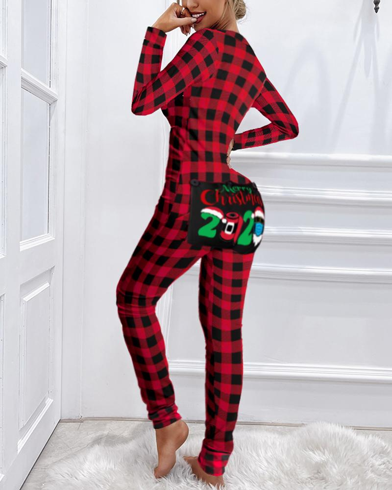 Christmas Letter Plaid Print Functional Buttoned Flap Adults Pajamas