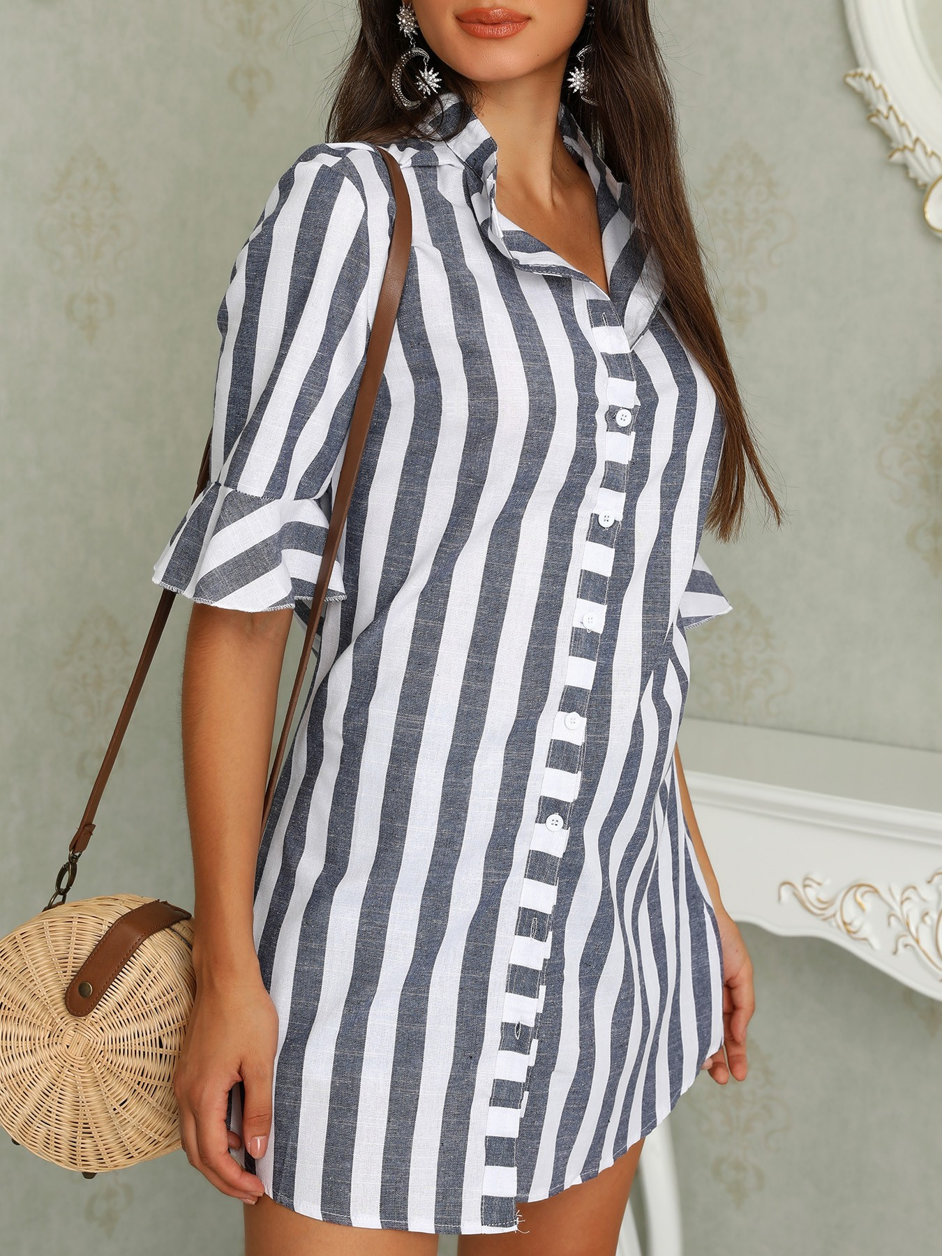 boutiquefeel / Pinstripes Zipper Flared Sleeve Casual Blouse