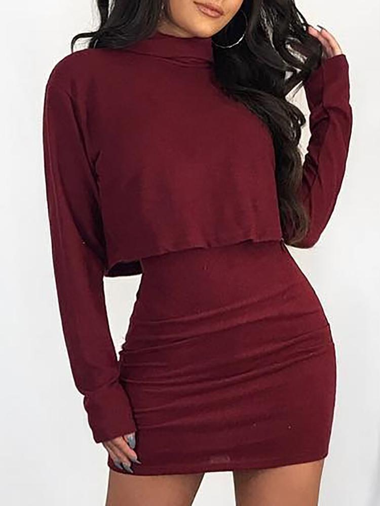 Spaghetti Strap Bodycon Dress & Crop Top Sets