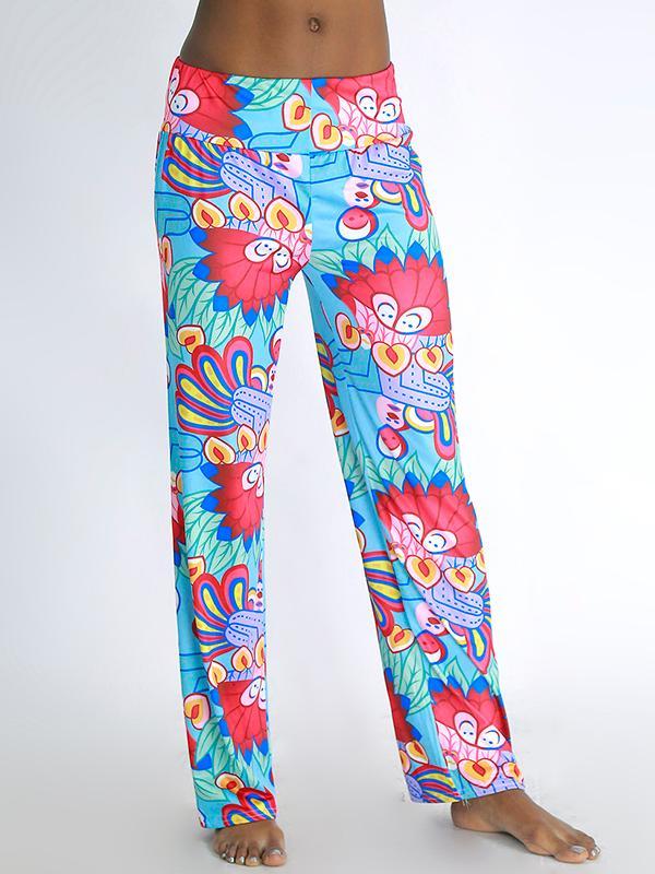 Women's Summer Fashion Cartoon Style Floral Print Pants Loose Elastic High Waist Wide Leg Long Pants thumbnail
