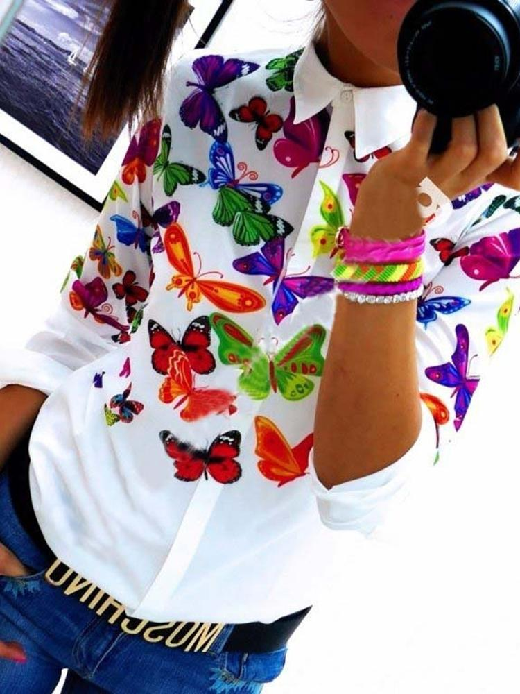 Summer Women's Vintage Butterfly Floral Printing Long Sleeve Sexy Chiff Blouse  T-shirt Top