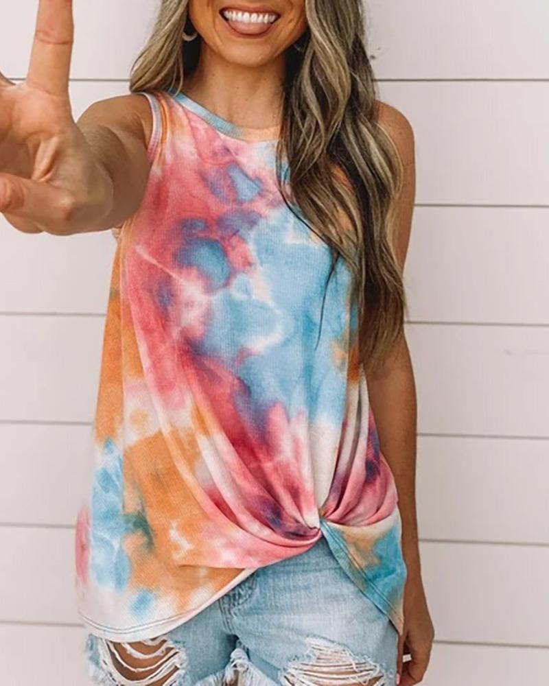 Tie Dye Print Sleeveless Casual T-shirt thumbnail