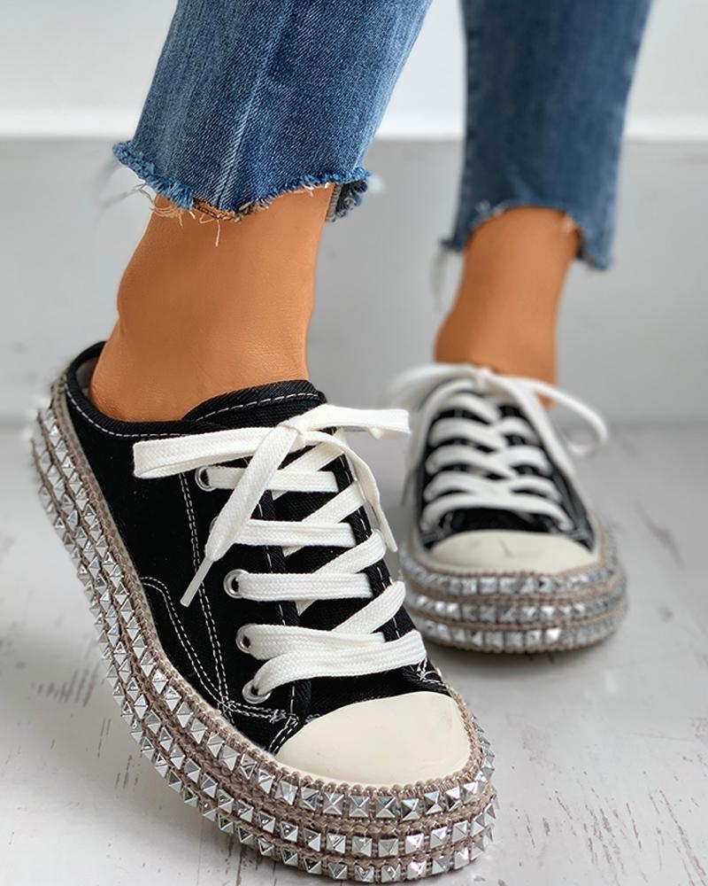 Rivet Eyelet Lace-up Flat Sandals thumbnail