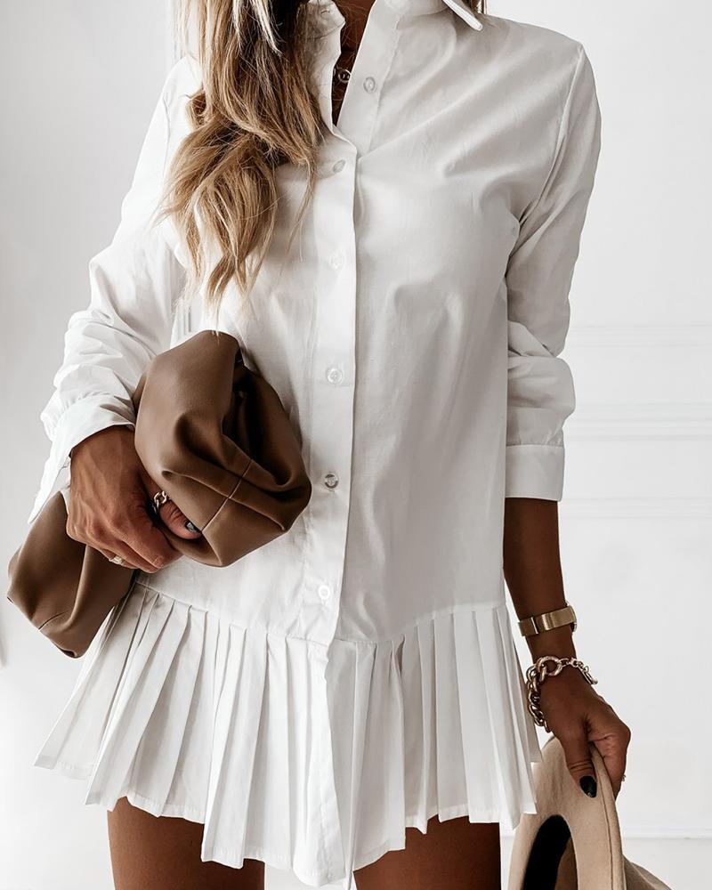 Plain Button Design Pleated Shirt Dress thumbnail