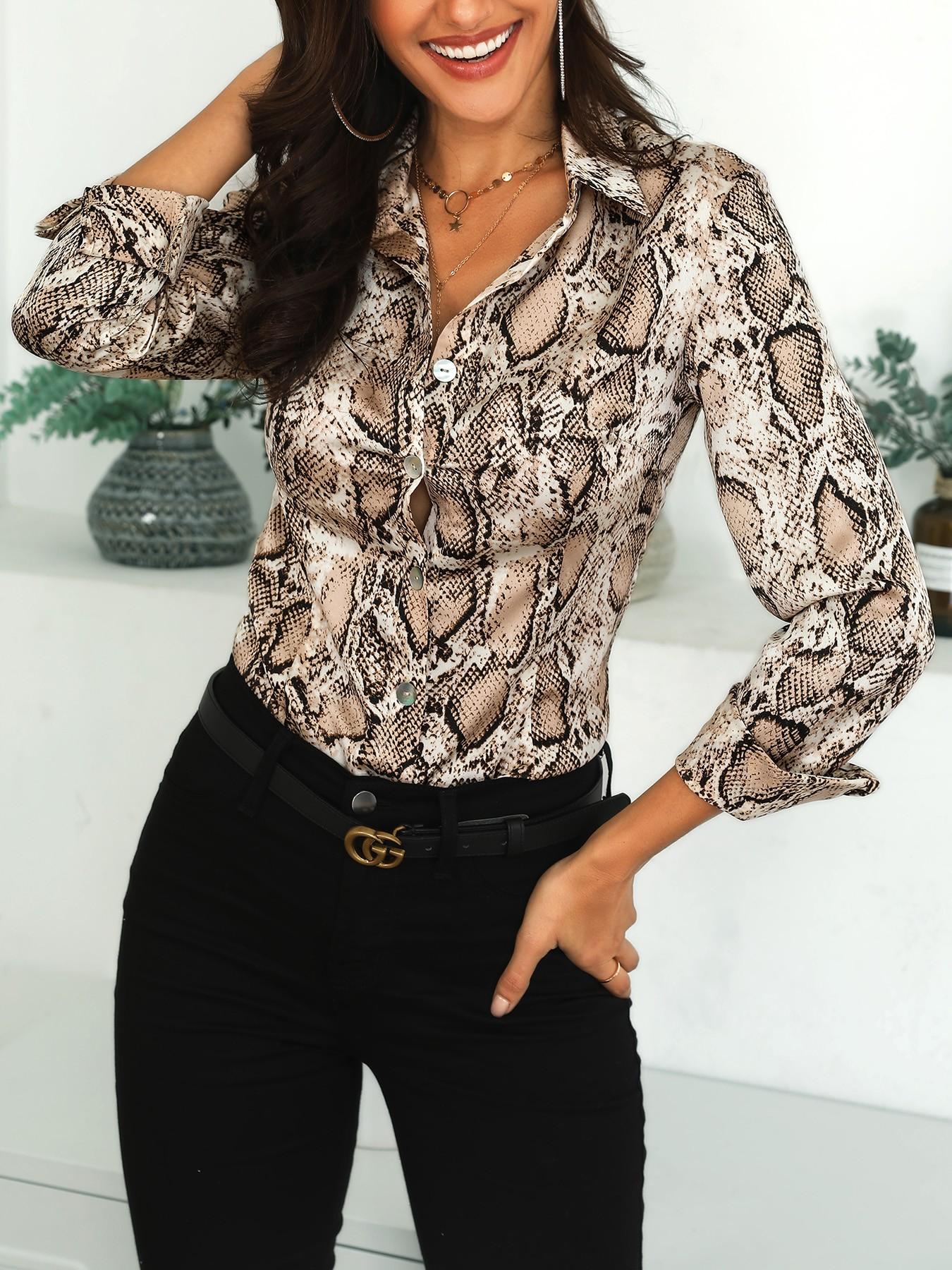 boutiquefeel / Snake Print Long Sleeve Casual Shirt