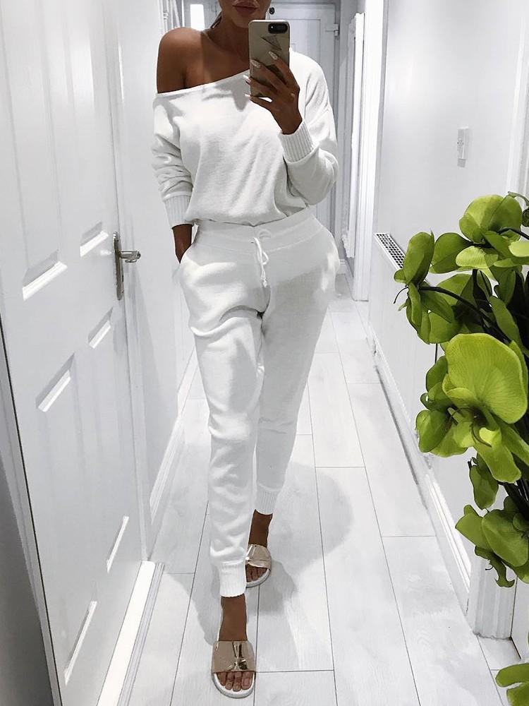 Trendy Skew Neck Drawstring Skinny Pantsuit