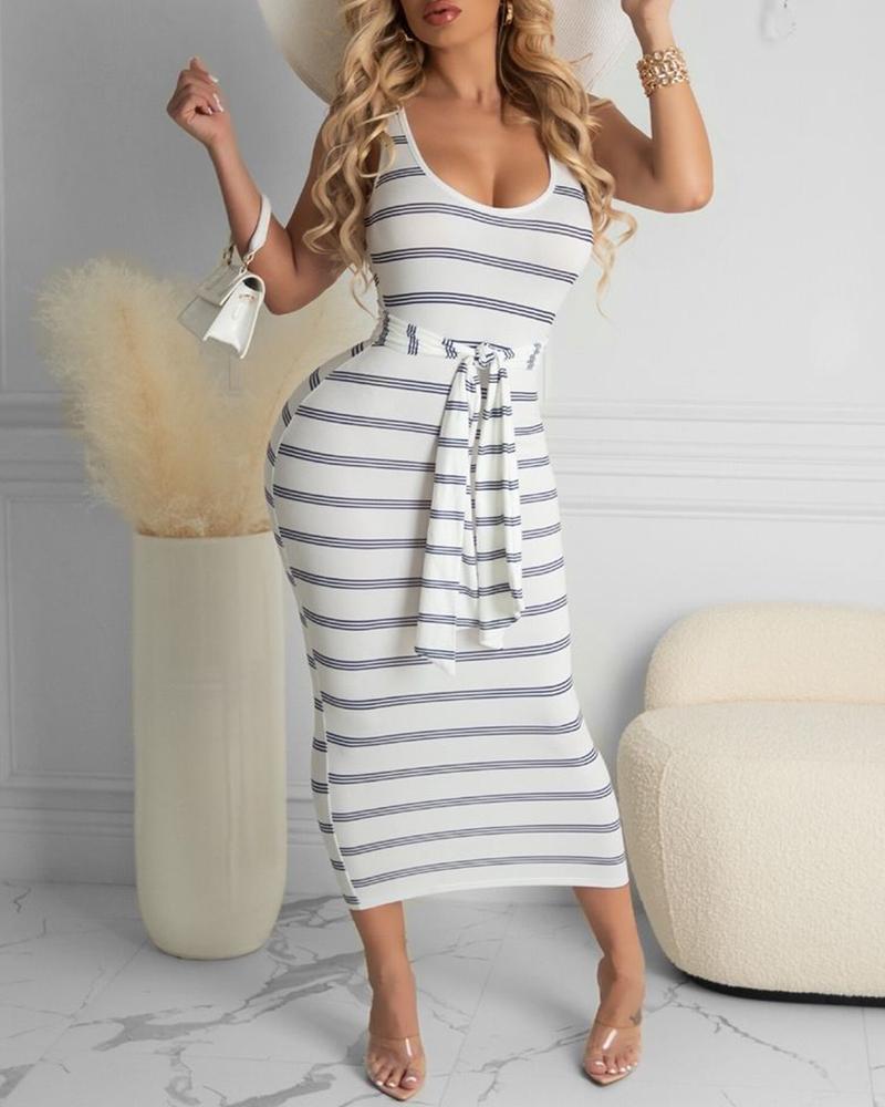 Striped Colorblock Tie Front Tank Dress
